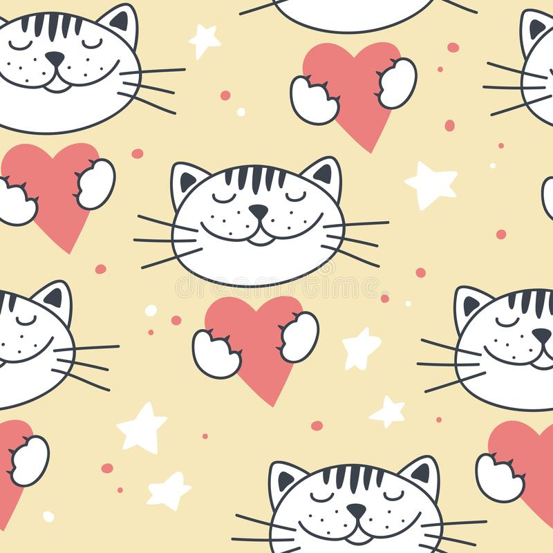 Naadloos patroon met leuke katten en harten vector illustratie