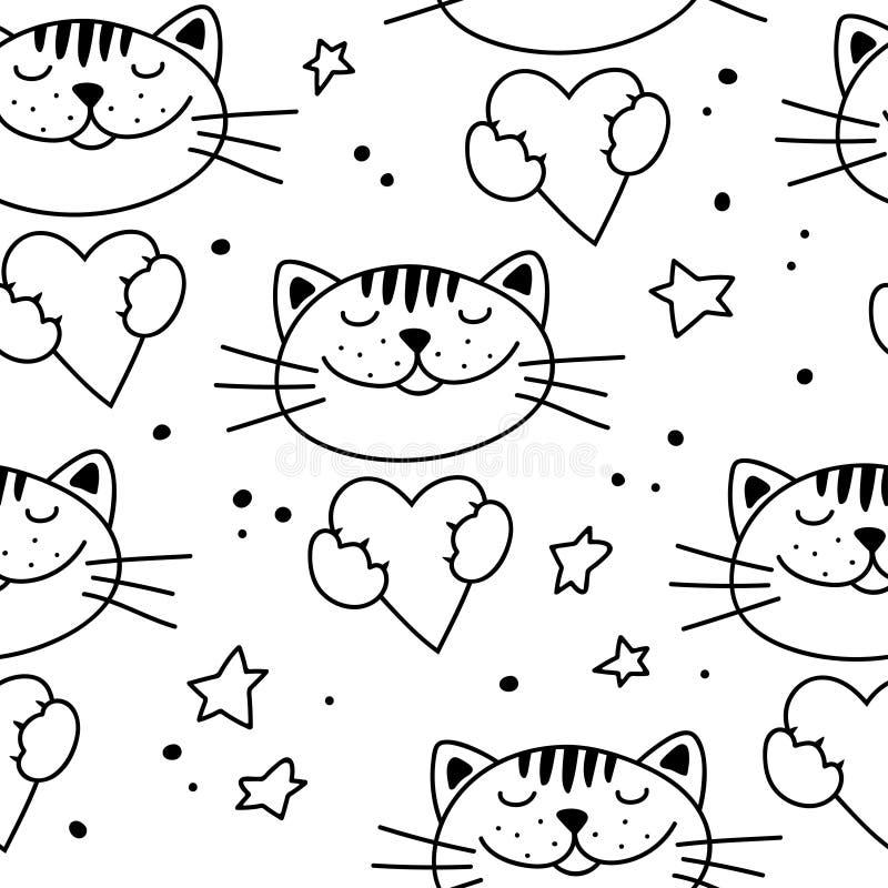 Naadloos patroon met leuke katten en harten stock illustratie