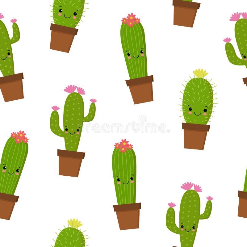 Naadloos patroon met leuke kawaiicactus en succulents met grappige gezichten in potten Witte achtergrond Vector illustratie vector illustratie