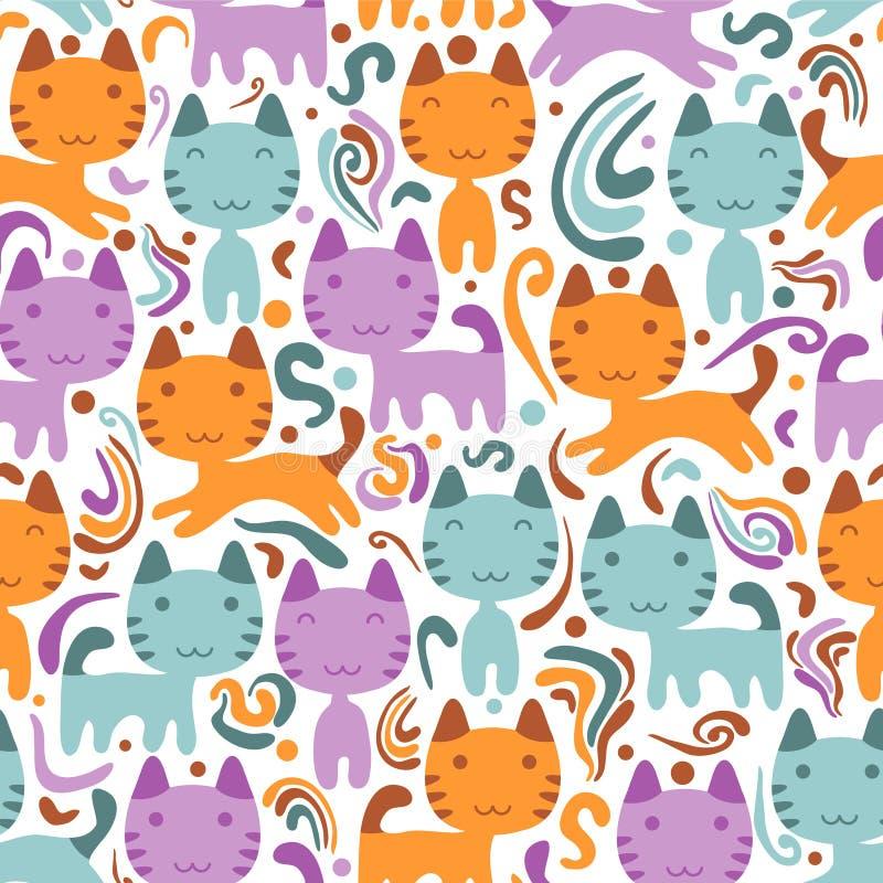Naadloos patroon met katjes vector illustratie