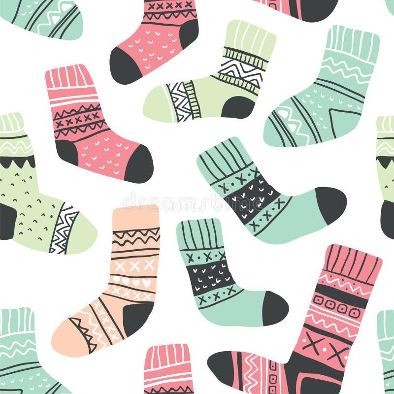 Naadloos patroon met leuke kleurrijke sokken royalty-vrije illustratie