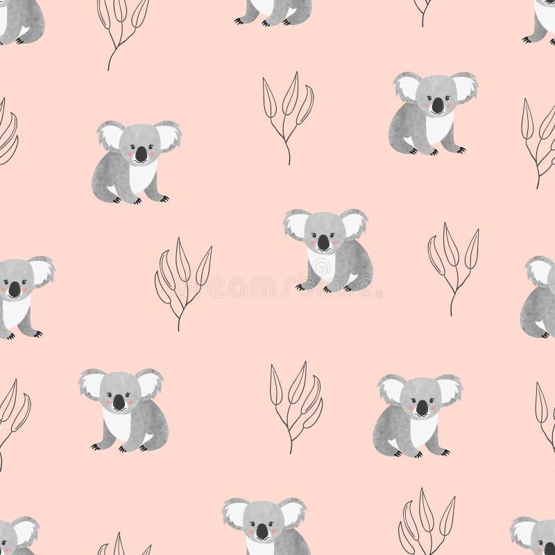 Naadloos patroon met leuke koala's op roze stock illustratie