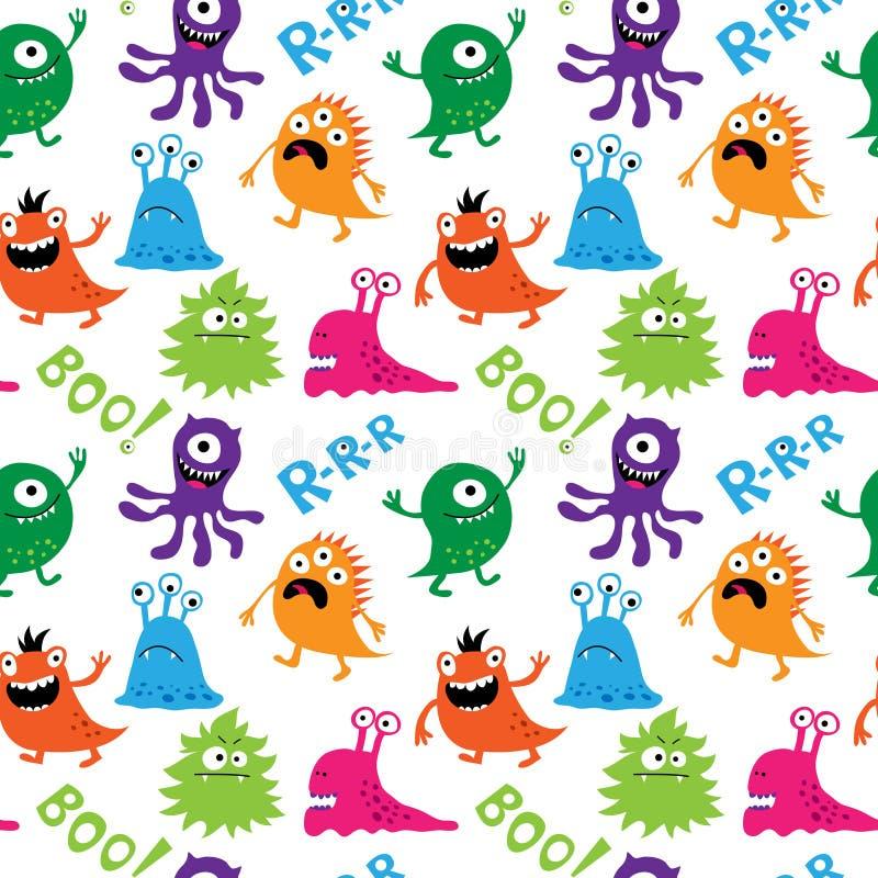 Naadloos patroon met leuke monsters en inschrijvingen stock illustratie