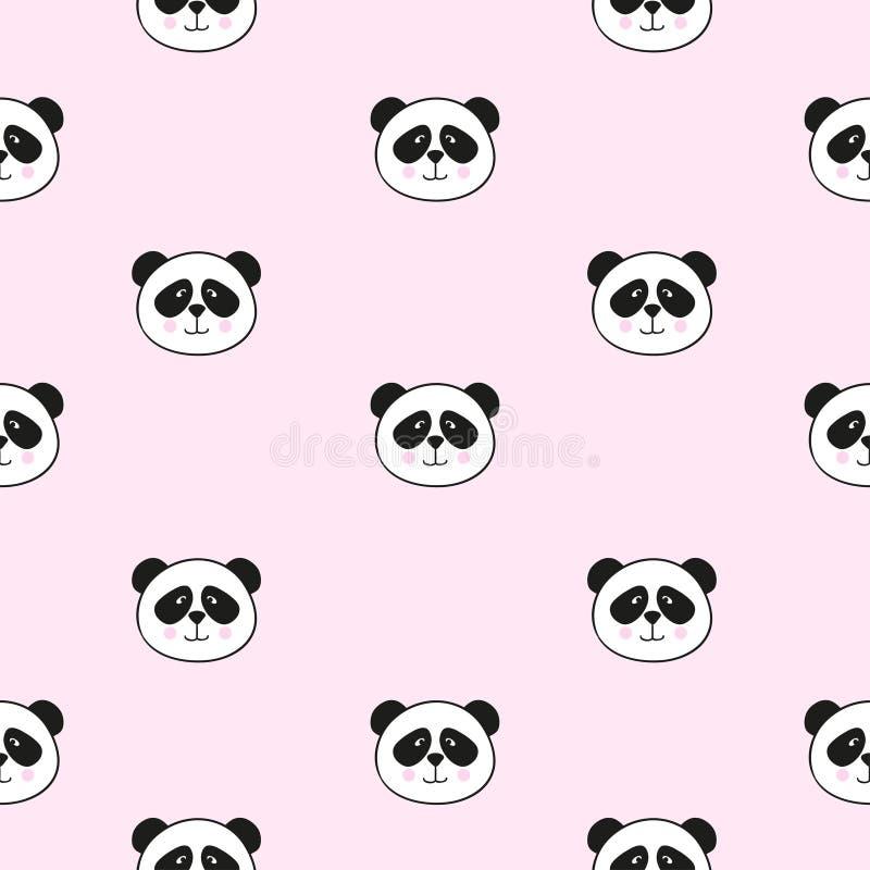 Naadloos patroon met leuke panda's op roze royalty-vrije illustratie