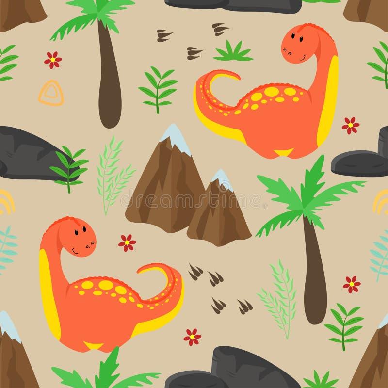 Naadloos patroon met leuke rode dinosaurus en bergen - vectorillustratie, eps vector illustratie