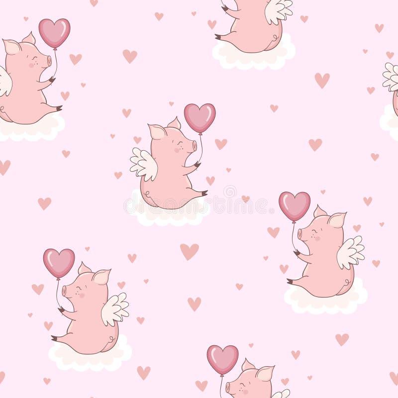 Naadloos patroon met leuke roze cupidovarkens op de wolken De dag van de valentijnskaart stock illustratie