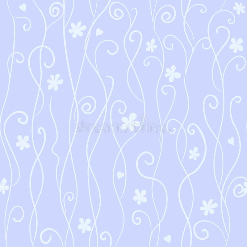 Naadloos patroon met leuke roze en zwarte wervelingen en harten vector illustratie