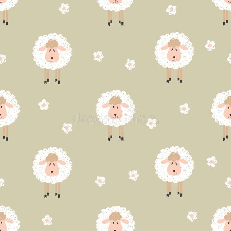Naadloos patroon met leuke schapen vector illustratie