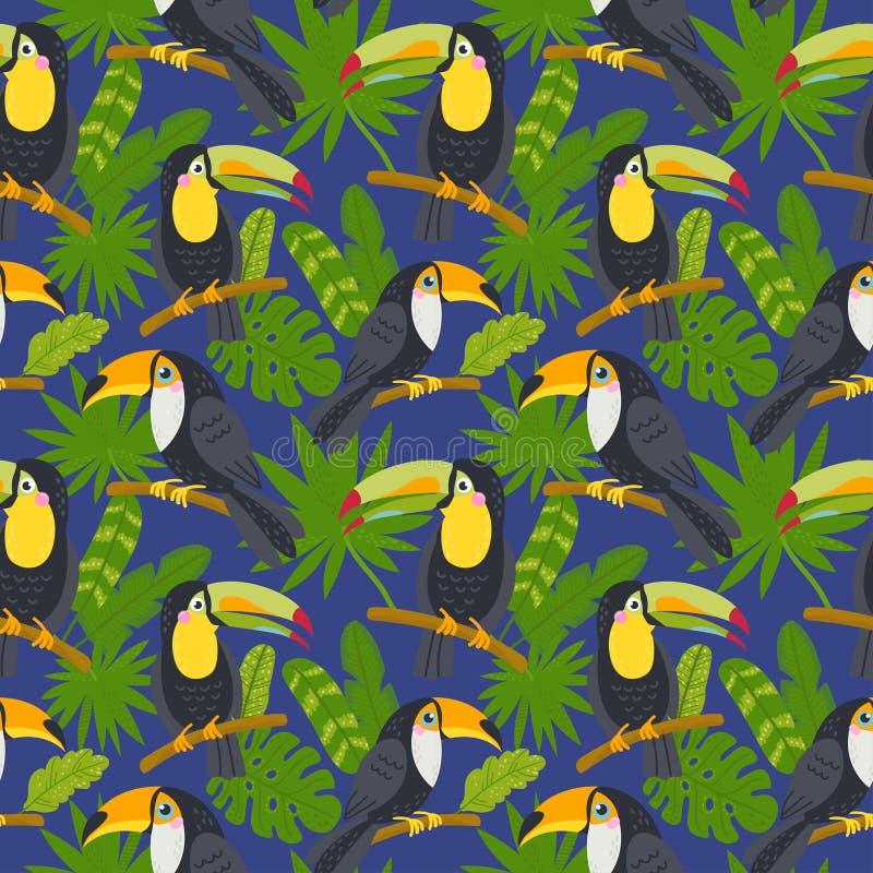 Naadloos patroon met leuke toekannen van de wildernis vector illustratie