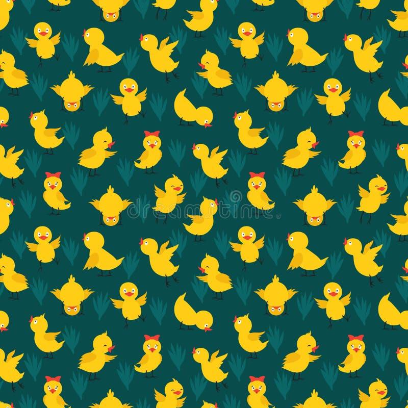 Naadloos patroon met leuke vector gele kippen vector illustratie