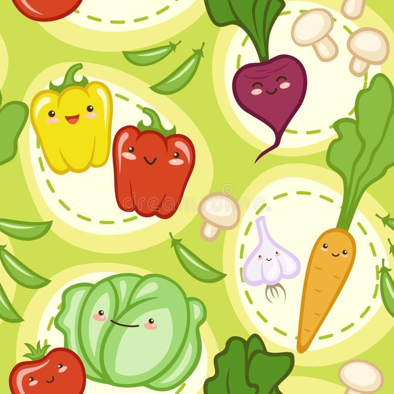 Naadloos patroon met leuke verse groenten stock illustratie