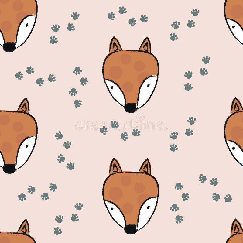 Naadloos patroon met leuke vos stock illustratie