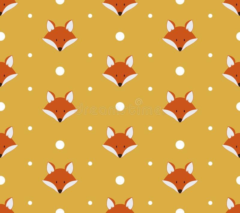 Naadloos patroon met leuke vossen stock illustratie