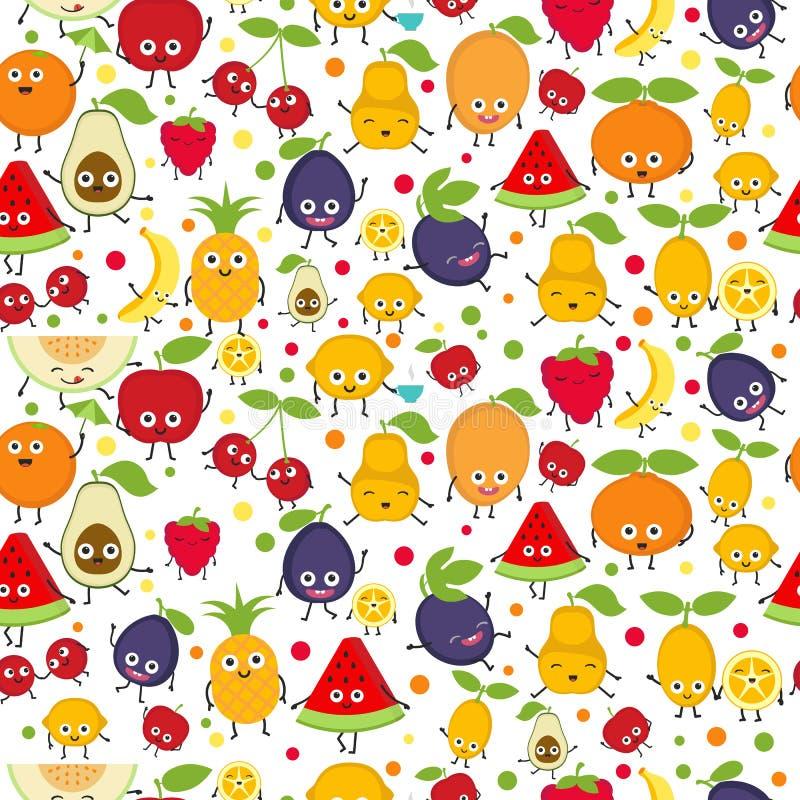 Naadloos patroon met leuke vruchten vector illustratie