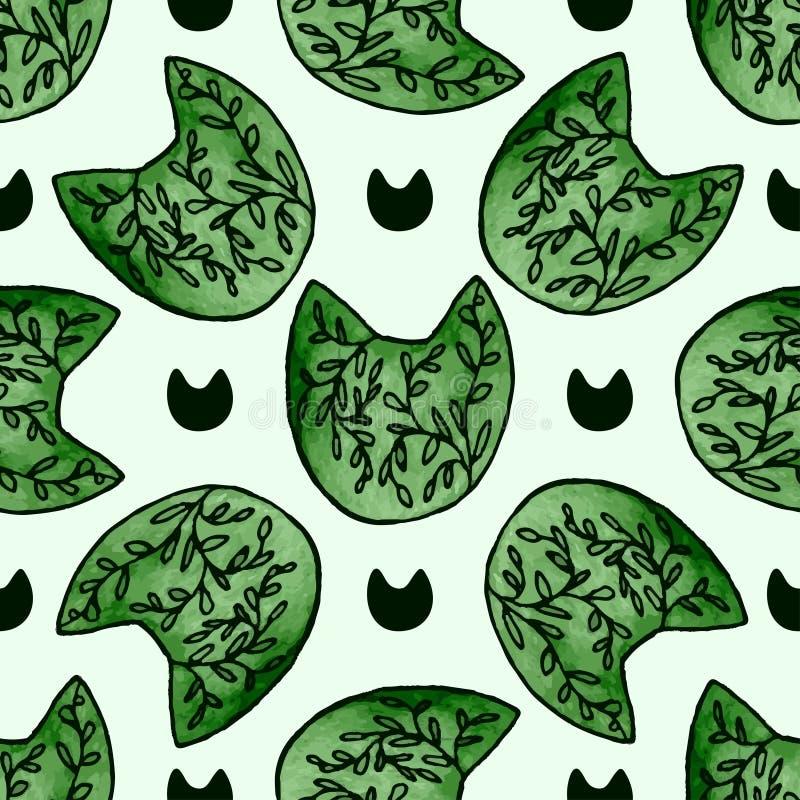 Naadloos patroon met leuke waterverfhand getrokken katten vector illustratie