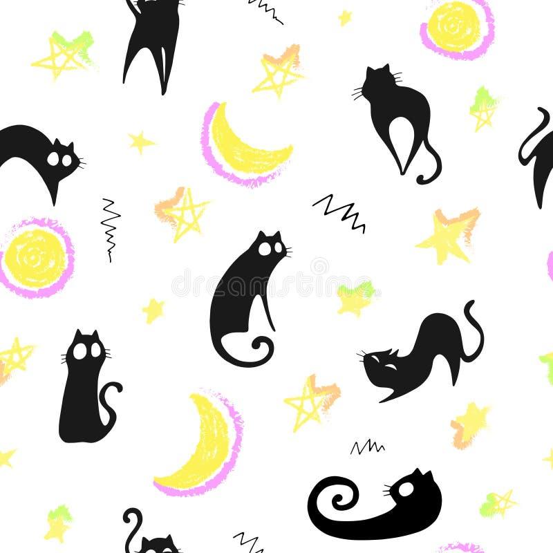Naadloos patroon met leuke zwarte katten, sterren, maan en decoratieve elementen Vector royalty-vrije illustratie