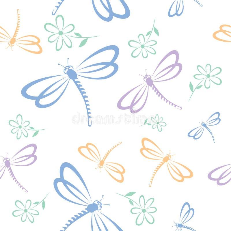 Naadloos patroon met libel en bloem stock illustratie