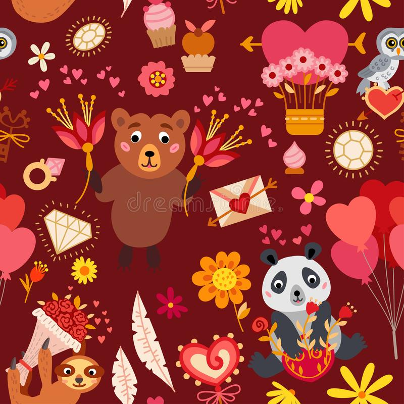 Naadloos patroon met liefdeelementen Vector illustratie royalty-vrije illustratie