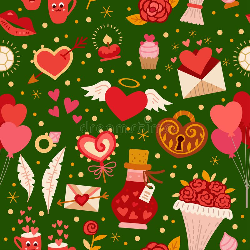 Naadloos patroon met liefdeelementen Vector illustratie vector illustratie