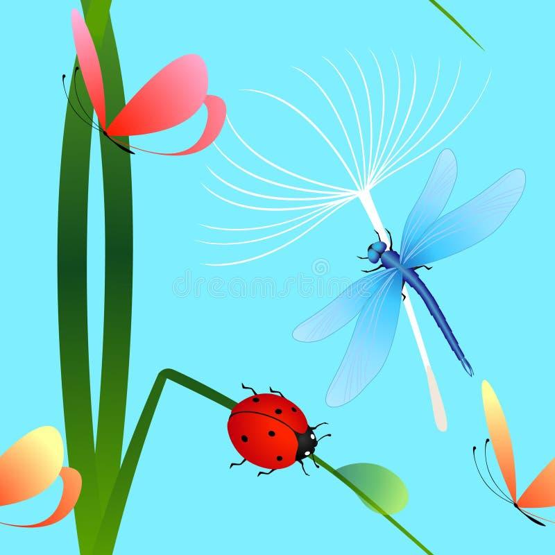Naadloos patroon met lieveheersbeestje op gras, vlinder en paardebloem op blauwe achtergrond royalty-vrije illustratie