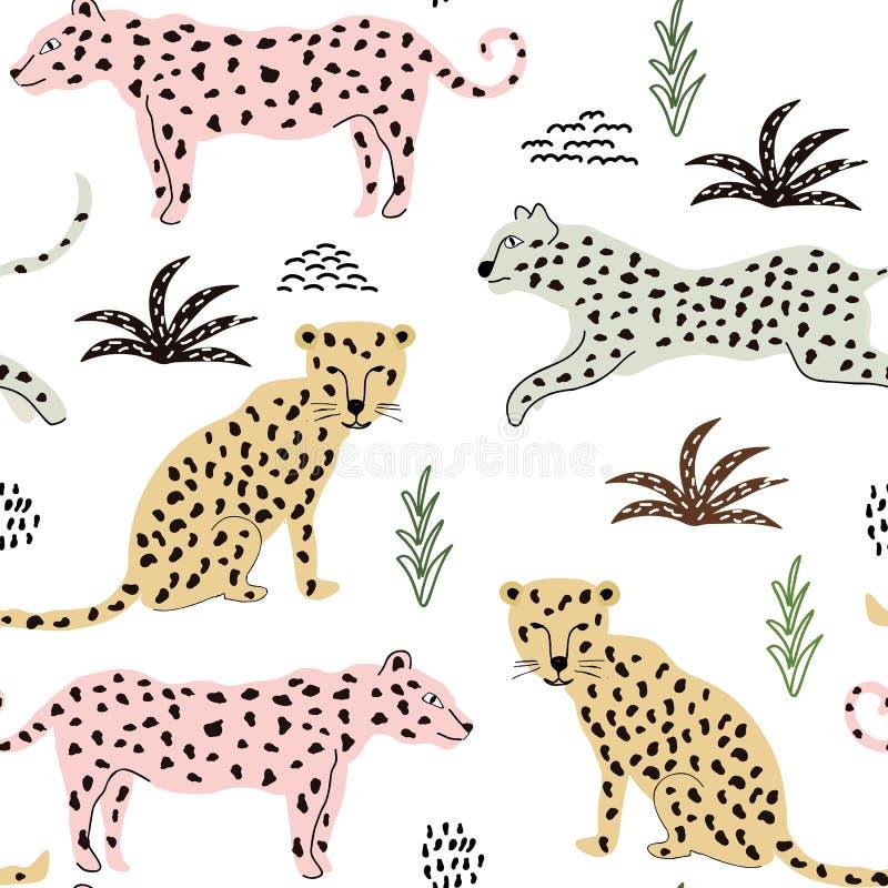 Naadloos patroon met luipaarden achtergrond voor stof, textiel, behang royalty-vrije illustratie