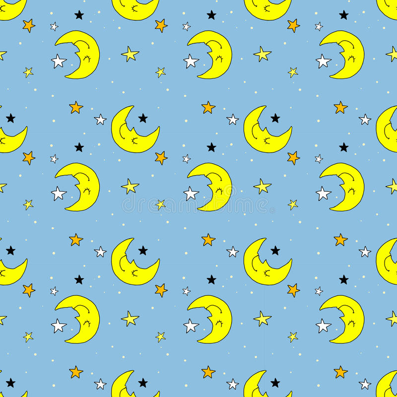 Naadloos patroon met maan en sterren vector illustratie