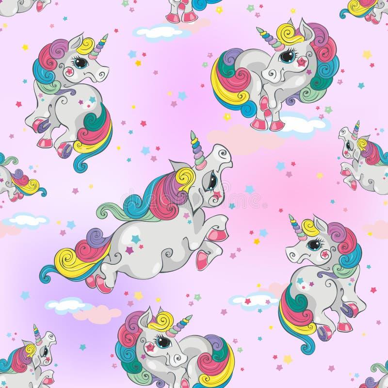 Naadloos patroon met magische eenhoorns Roze hemelachtergrond met sterren Voor meisjes Vector stock foto