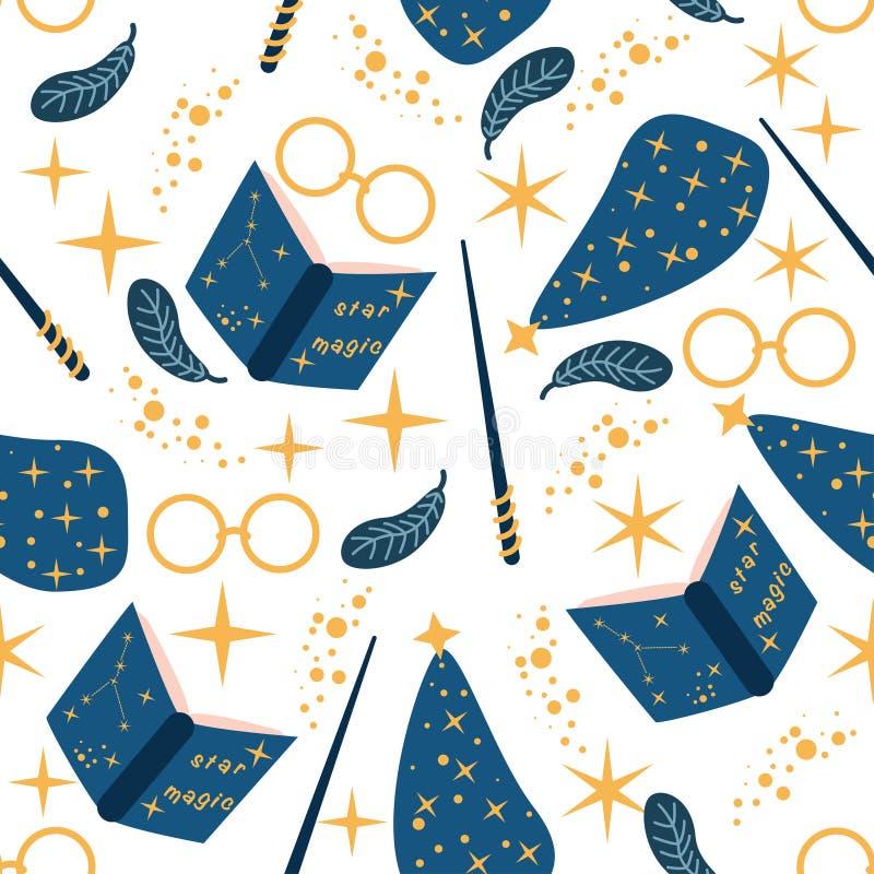 Naadloos patroon met magische elementen op witte achtergrond - vectorillustratie, eps royalty-vrije illustratie