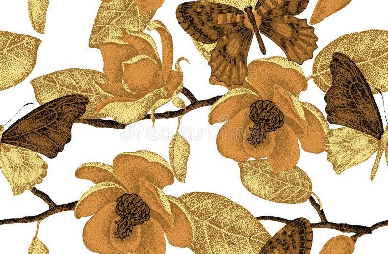 Naadloos patroon met magnoliabloemen en vlinders stock illustratie