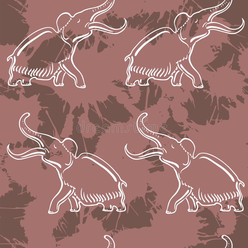Naadloos patroon met mammoet royalty-vrije illustratie