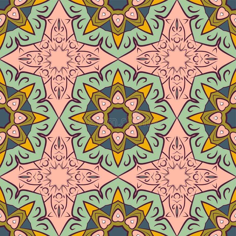 Naadloos patroon met mandalas in mooie uitstekende kleuren Het kan voor prestaties van het ontwerpwerk noodzakelijk zijn stock illustratie