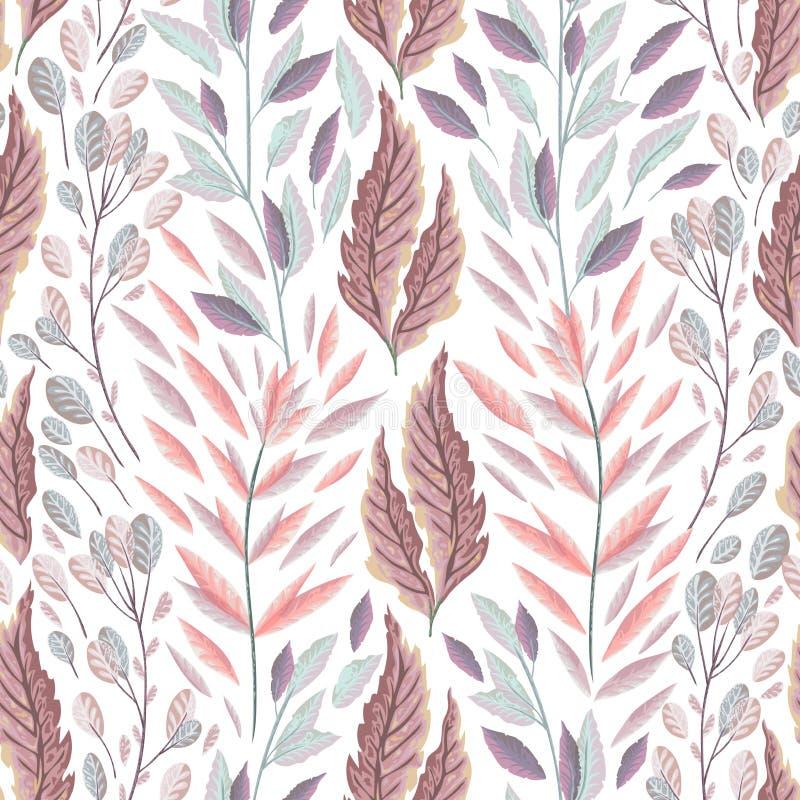 Naadloos patroon met marien installaties, bladeren en zeewier Hand getrokken mariene flora in waterverfstijl royalty-vrije illustratie