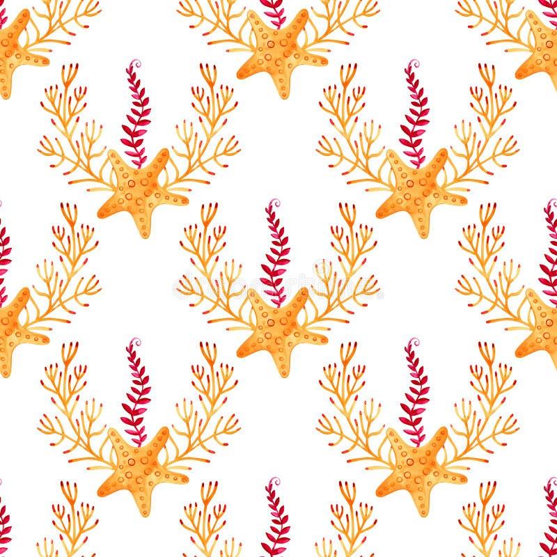 Naadloos patroon met mariene zeester De achtergrond van de waterverf Kan voor stof, behang, banner, pak, webpagina worden gebruik vector illustratie