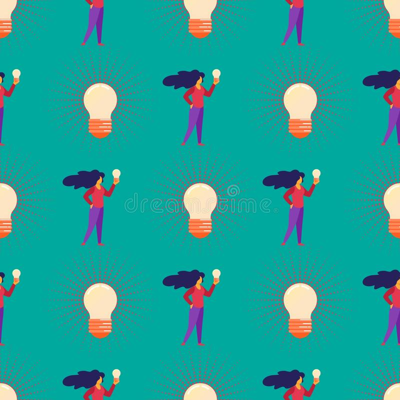 Naadloos Patroon met Meisje en Reusachtige Gloeilampen vector illustratie