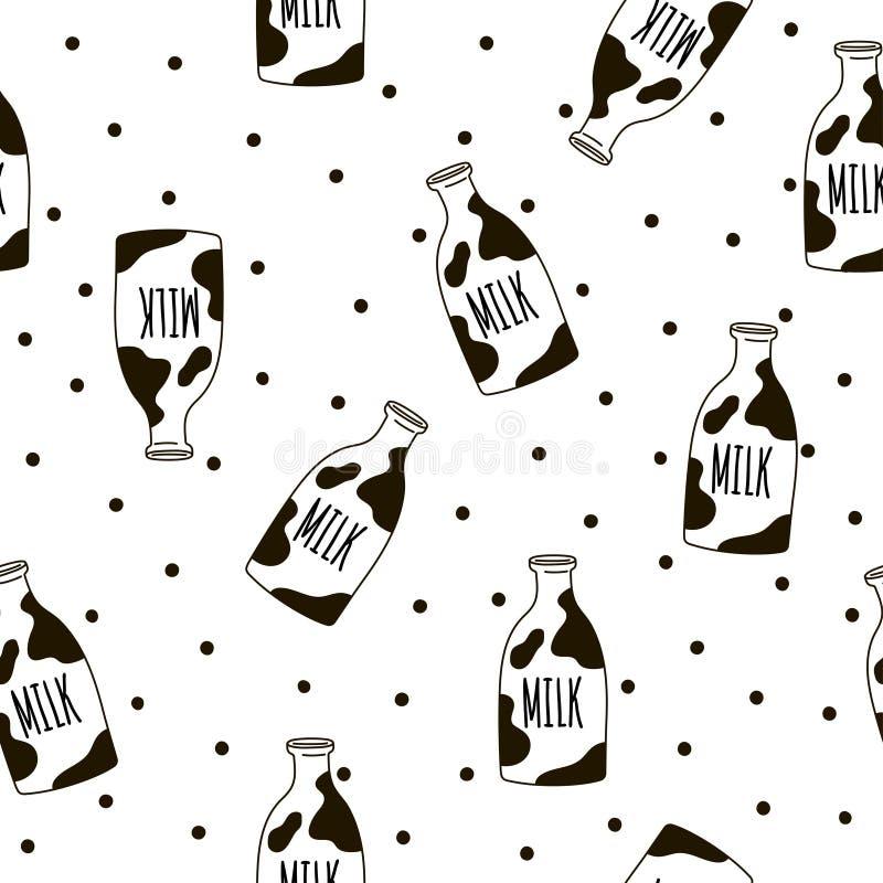 Naadloos patroon met melkflessen Vectormalplaatje voor beddegoedpatroon stock illustratie