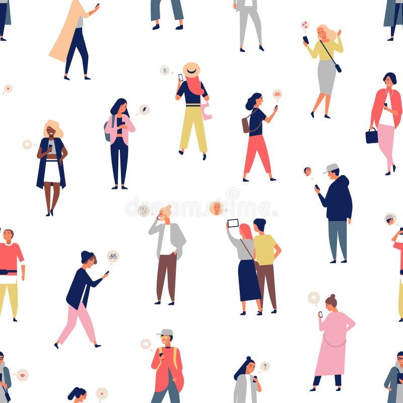 Naadloos patroon met menigte van mensen die smartphones of mobiele telefoons met boodschappers gebruiken Achtergrond met jonge me vector illustratie