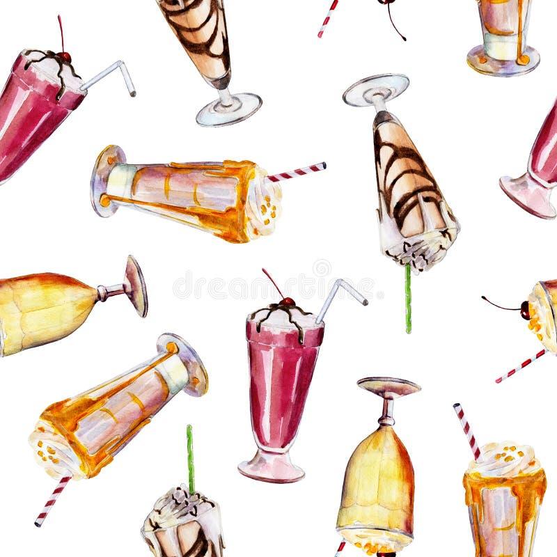 Naadloos patroon met milkshakes, waterverf geïllustreerde achtergrond vector illustratie