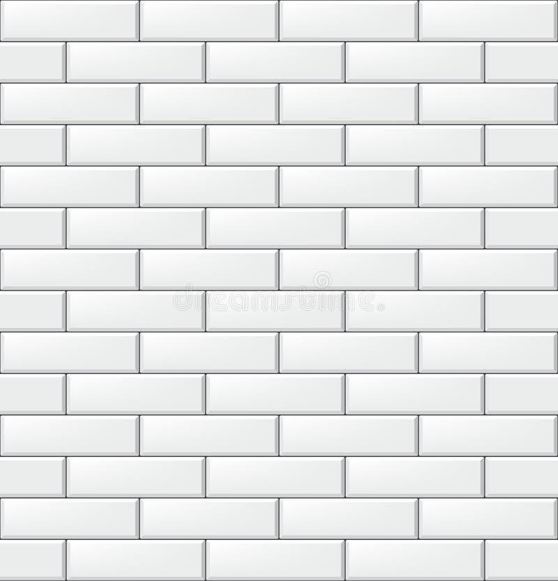 Naadloos patroon met moderne rechthoekige baksteen witte tegels Realistische horizontale textuur Vector illustratie royalty-vrije illustratie