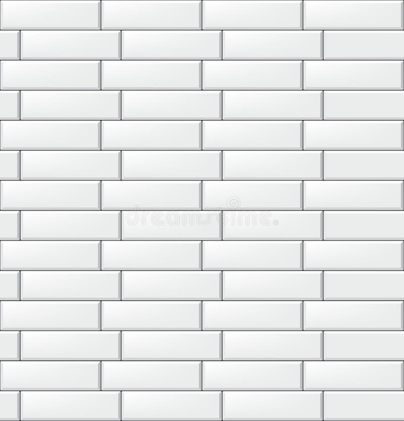 Naadloos patroon met moderne rechthoekige witte tegels Realistische horizontale textuur Vector illustratie vector illustratie