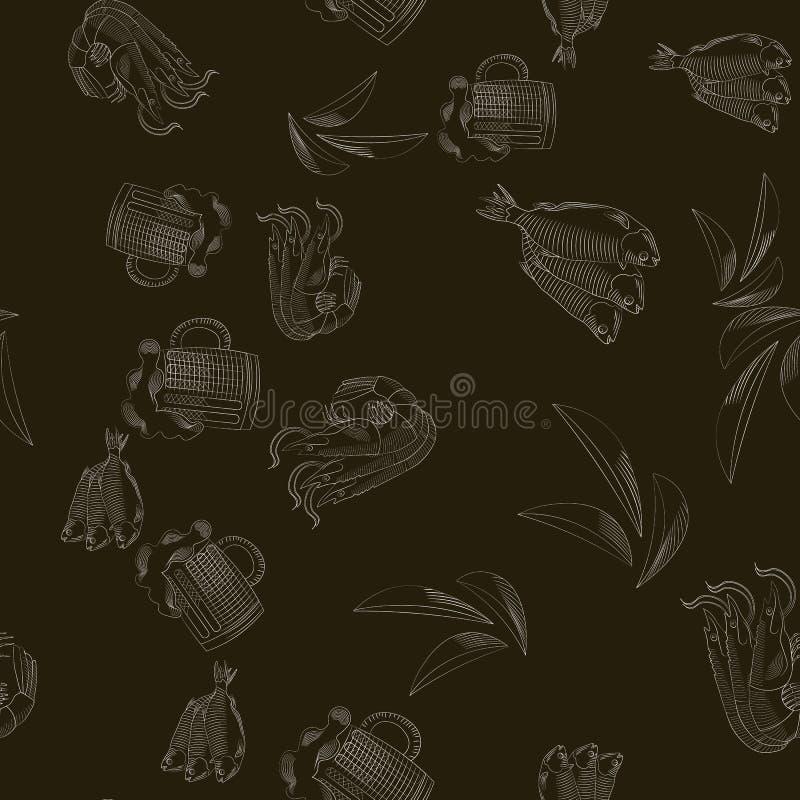 Naadloos patroon met mok bier, Garnalen, chips en vissen vector illustratie
