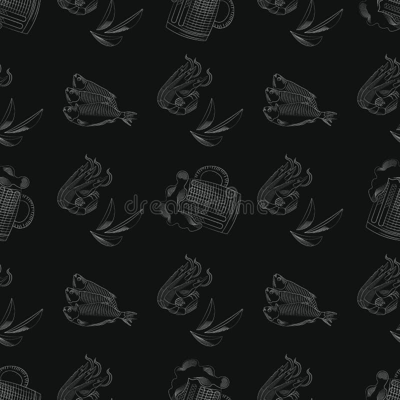 Naadloos patroon met mok bier, Garnalen en chips grafische stijl vectorillustratie royalty-vrije illustratie