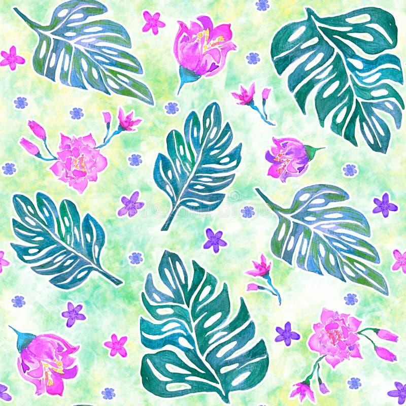Naadloos patroon met monsterabladeren en tropische bloemen royalty-vrije illustratie