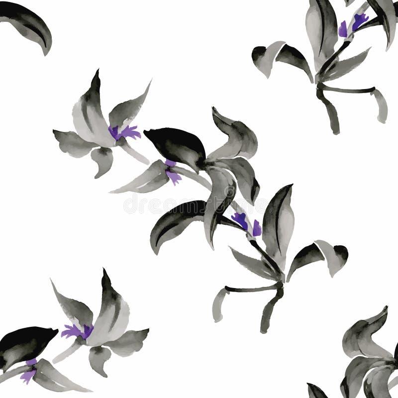 Naadloos patroon met Mooie bloemen, Waterverf het schilderen vector illustratie