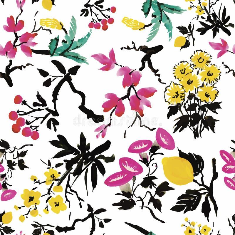 Naadloos patroon met Mooie bloemen, Waterverf het schilderen stock illustratie