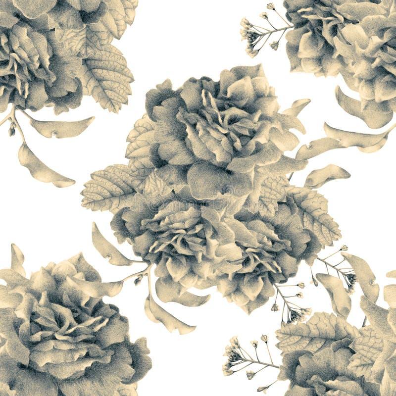 Naadloos patroon met mooie de lentebloemen en installaties vector illustratie