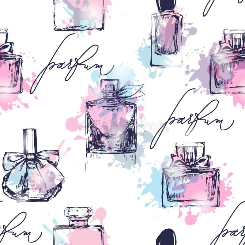 Naadloos patroon met mooie flessen parfum Het parfum van vrouwen Vector stock illustratie