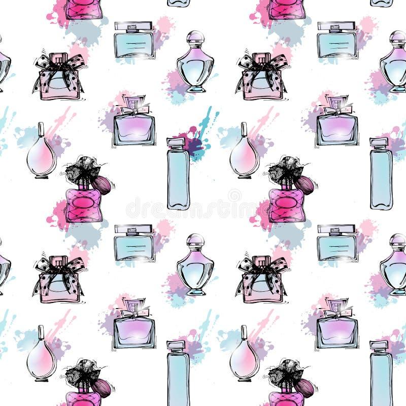 Naadloos patroon met mooie flessen parfum Vrouwen` s parfum Vector royalty-vrije illustratie