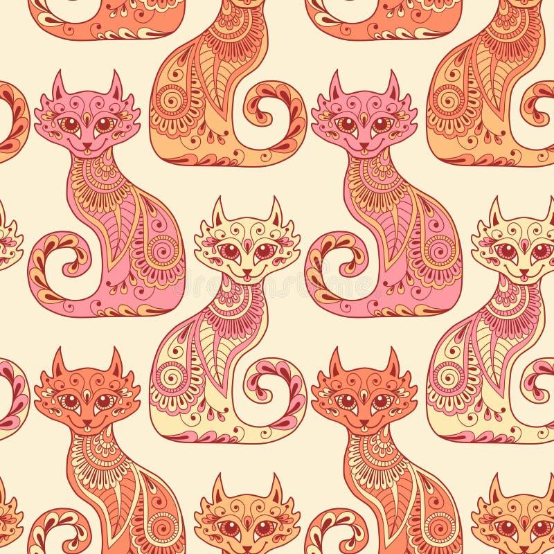Naadloos patroon met mooie katten in etnisch stock illustratie