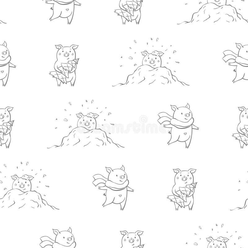 Naadloos patroon met mooie leuke vrolijke piggies De winter achtergrond ter beschikking getrokken stijl vector illustratie