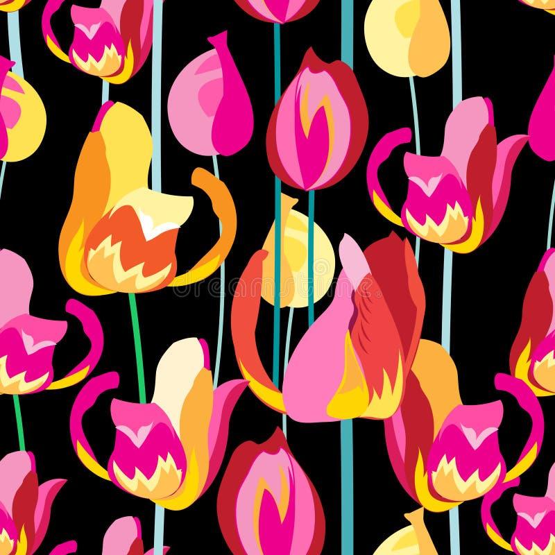 Naadloos patroon met mooie multi-colored tulpen stock illustratie